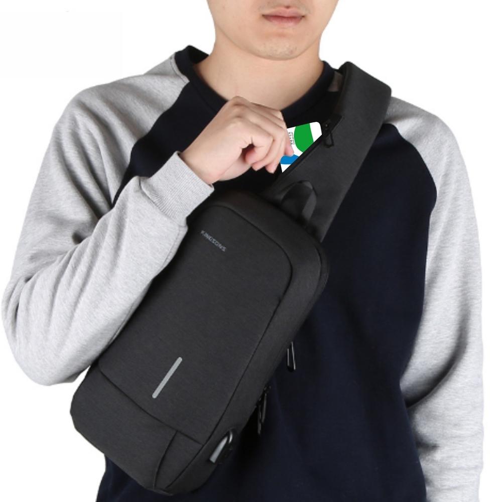 [限時搶] leaper USB充電防潑水防盜單肩斜背包胸包