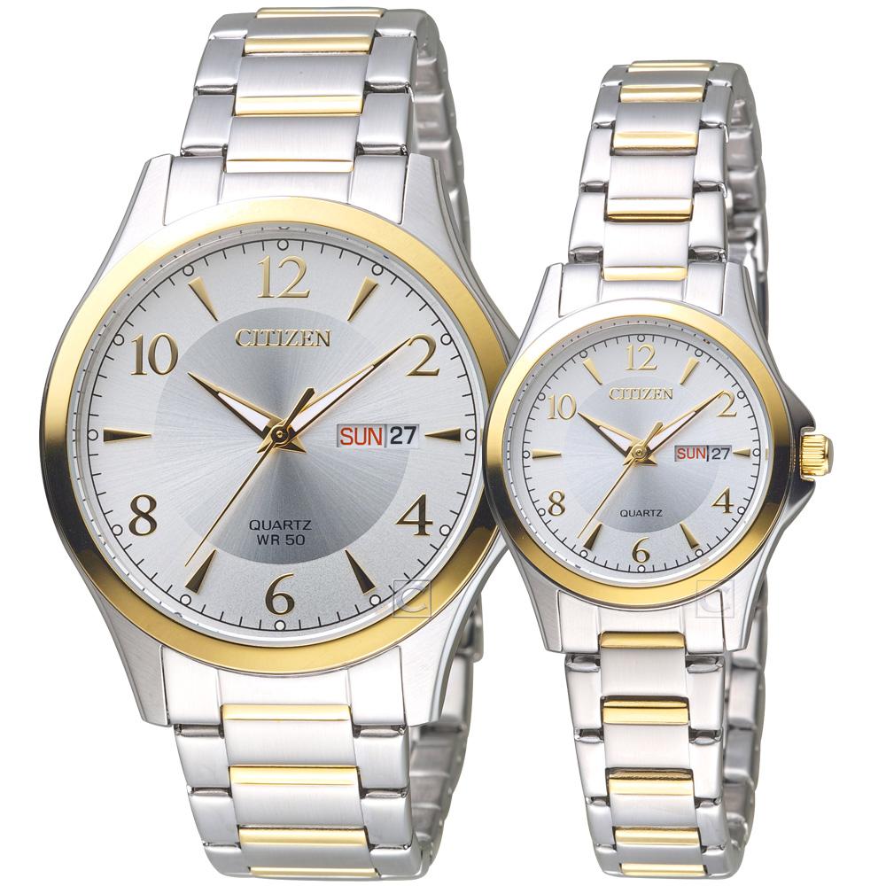 CITIZEN 星辰 經典雅痞時尚對錶(BF2005-54A-EQ0595-55A)-鋼帶