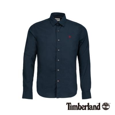 Timberland 男款深寶石藍緊身彈性府綢長袖襯衫|A213B