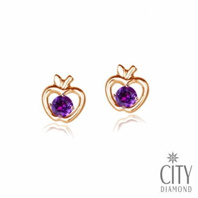 City Diamond引雅【東京Yuki系列】10K小蘋果紫水晶玫瑰金耳環