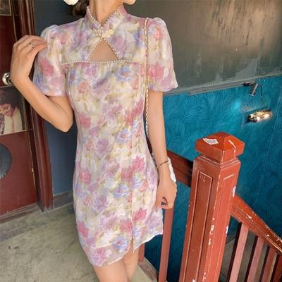 美麗復古立領盤扣珍珠衣領泡泡袖連身裙S-XL-Dorri