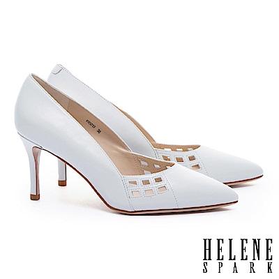 高跟鞋 HELENE SPARK 簡約之美雅緻沖孔羊皮尖頭高跟鞋-白