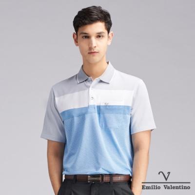 Emilio Valentino范倫鐵諾機能防皺橫紋POLO衫_灰/白/藍(21-V3807)