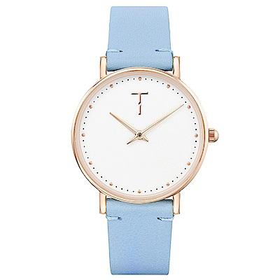TYLOR 棉花派對時尚皮革手錶-白X水藍/33mm