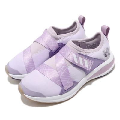 adidas 慢跑鞋 FortaRun X Frozen 童鞋 愛迪達 聯名 冰雪奇緣 襪套式 中童 紫 白 FV4185