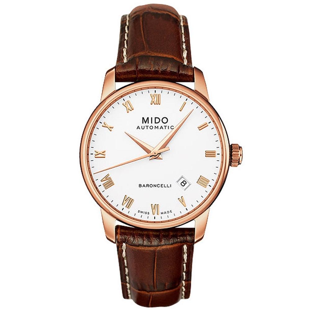 MIDO Baroncelli 玫瑰金機械皮帶錶-38mm M86002268