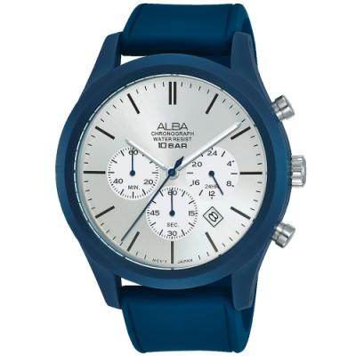 ALBA雅柏 新潮三眼計時運動錶(AT3G29X1)-藍/44mm