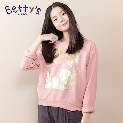 betty's貝蒂思 前燙金後繡花網紗T-shirt(淺粉)