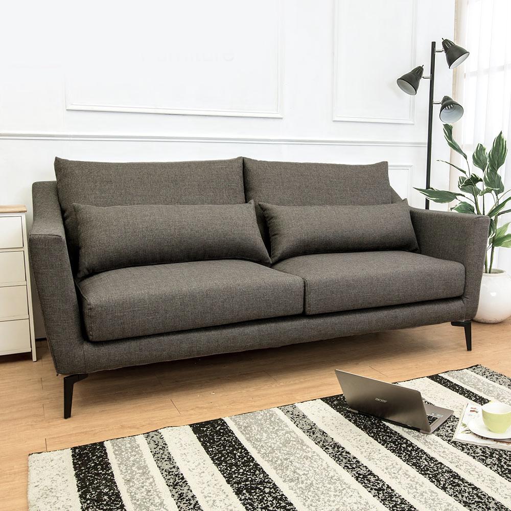 Boden-蒂羅三人座灰色防潑水亞麻布沙發(送腰枕)