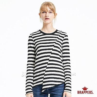BRAPPERS 女款 剪接不對稱條紋長袖上衣-黑米條