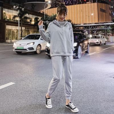 運動休閒連帽T恤+舒適長褲二件套組L-4XL(共二色)KVOLL