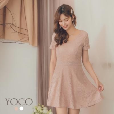 東京著衣-YOCO 經典優雅滿版雕花蕾絲露腰洋裝-S.M.L(共二色)