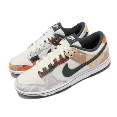 Nike 休閒鞋 Dunk Low SE 經典運動 男鞋 皮革 迷彩元素 鴛鴦 後跟刺繡 穿搭 白 綠 DH0957-100