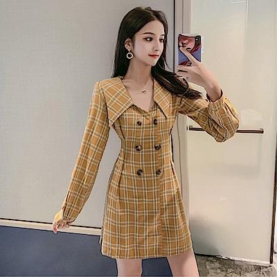 DABI 韓系復古V領雙排扣收腰格紋西裝裙長袖洋裝