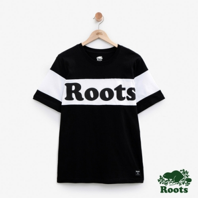 男裝Roots 加拿大短袖T恤-黑