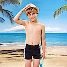 男童泳褲短版四角褲(T-967)藍白邊條拼接TiNyHouSe