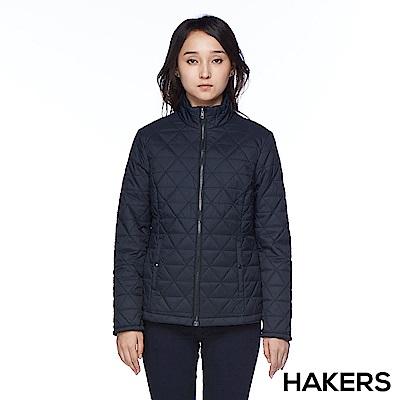 【HAKERS 哈克士】女款 菱格保暖外套(黑色)