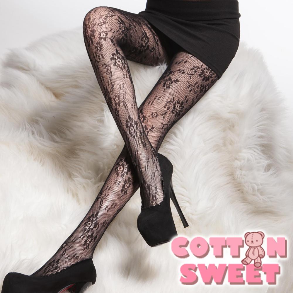 韓系心事倒影 花朵黑色 連身網襪 棉花甜