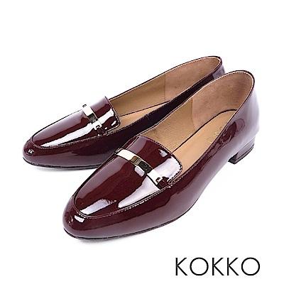 KOKKO - 輕盈休閒方頭彎折真皮平底鞋-濃梨紅