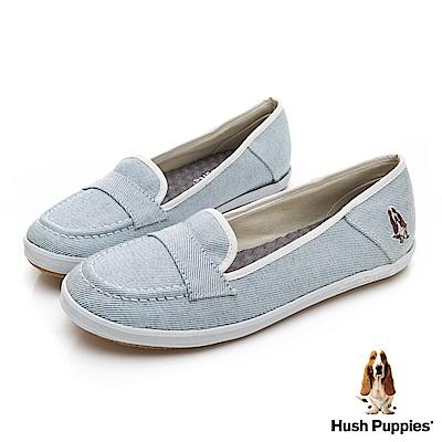 Hush Puppies 單寧風潮咖啡紗摩卡娃娃鞋-淺藍