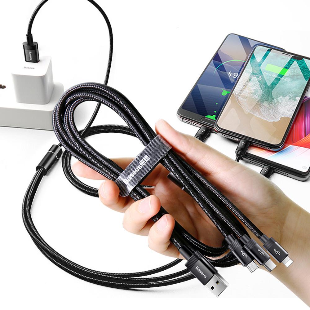 Baseus可傳輸充電線一拖三數據線-8pin +Type-C + Micro