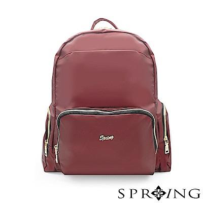 SPRING-微光澤輕量後背包-寶石紅