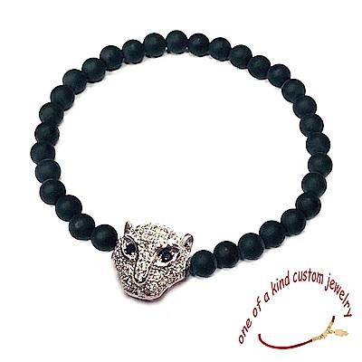 One of a kind 鑲鑽美洲豹手鍊 黑色珠珠彈性手鍊 925純銀 男款