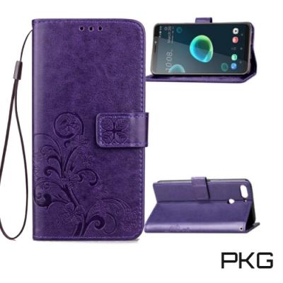 PKG HTC Desire12 Plus 側翻式皮套-精選皮套系列-幸運草-紫