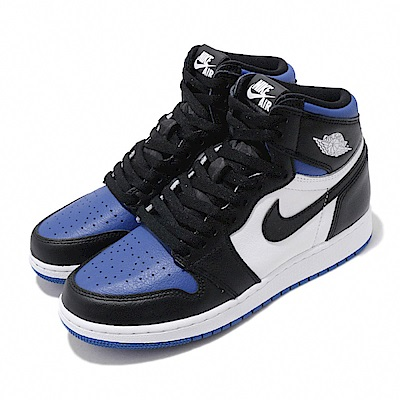 Nike 休閒鞋 Air Jordan 1代 GS 喬丹 女鞋 小閃電 AJ1 Game Royal 大童 白 黑 藍 575441041