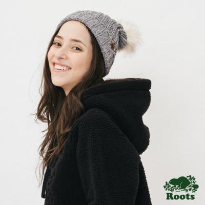 配件-雪尼爾毛球針織帽-灰色