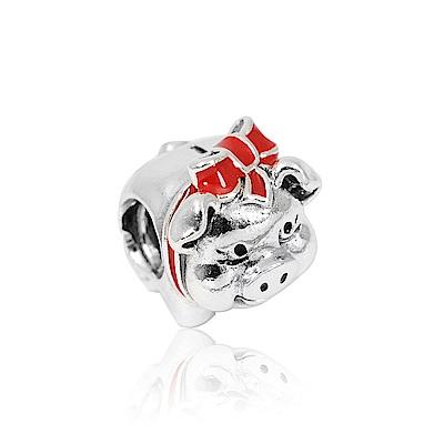 Pandora 潘朵拉 紅色蝴蝶結小豬存錢筒 純銀墜飾 串珠