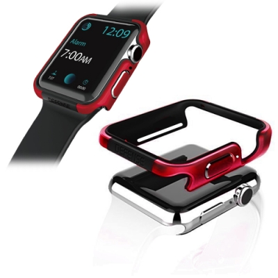 Apple Watch 42mm 鋁合金雙料保護殼 保護邊框(野性紅)