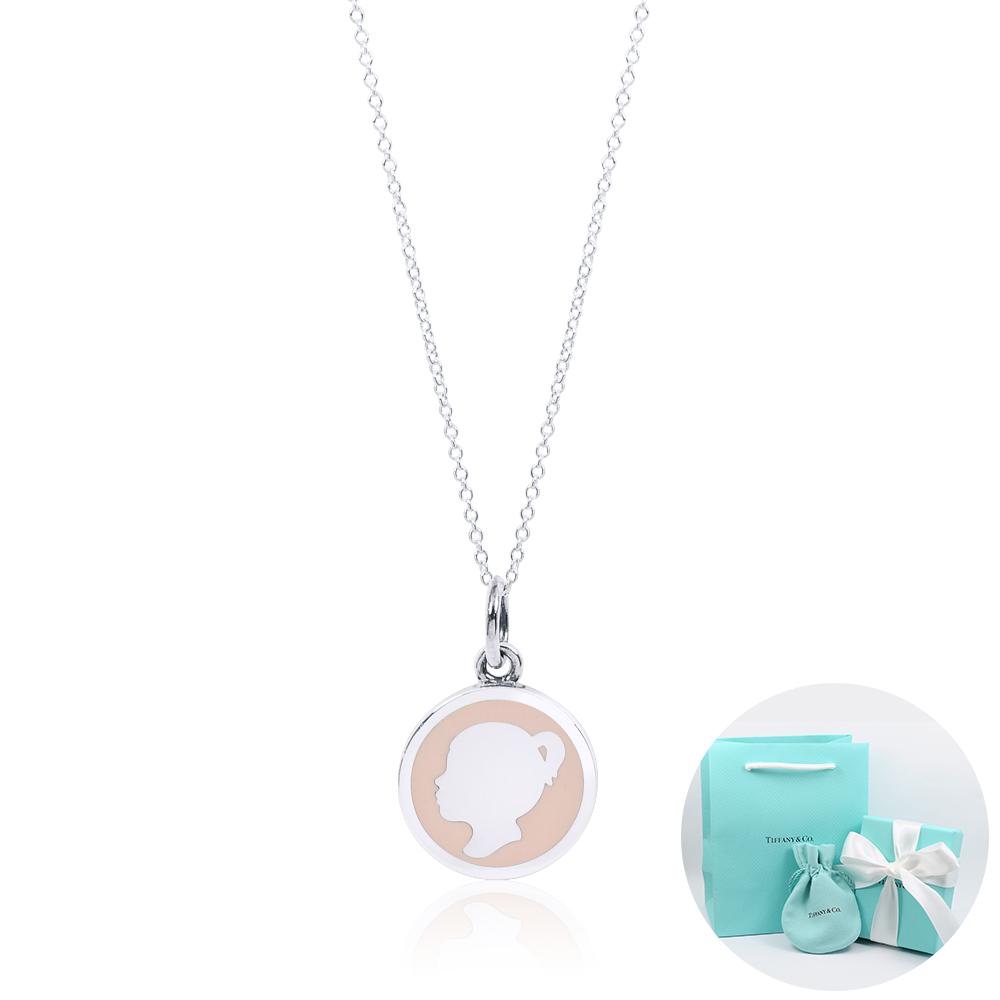 Tiffany&Co. Girl Tag圓形少女肖像粉色琺瑯造型純銀項鍊