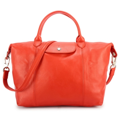 Longchamp Le Pliage Cuir小羊皮短把折疊中型水餃包-橙紅色