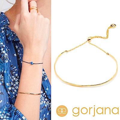 GORJANA Taner Bar 金色平衡骨手鍊 亮面優雅圓弧 可調式手圍