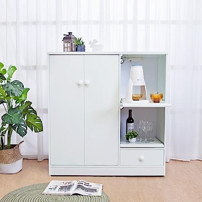 Birdie南亞塑鋼-3.6尺二門一抽二拉盤塑鋼電器櫃(白色)108x41x115cm