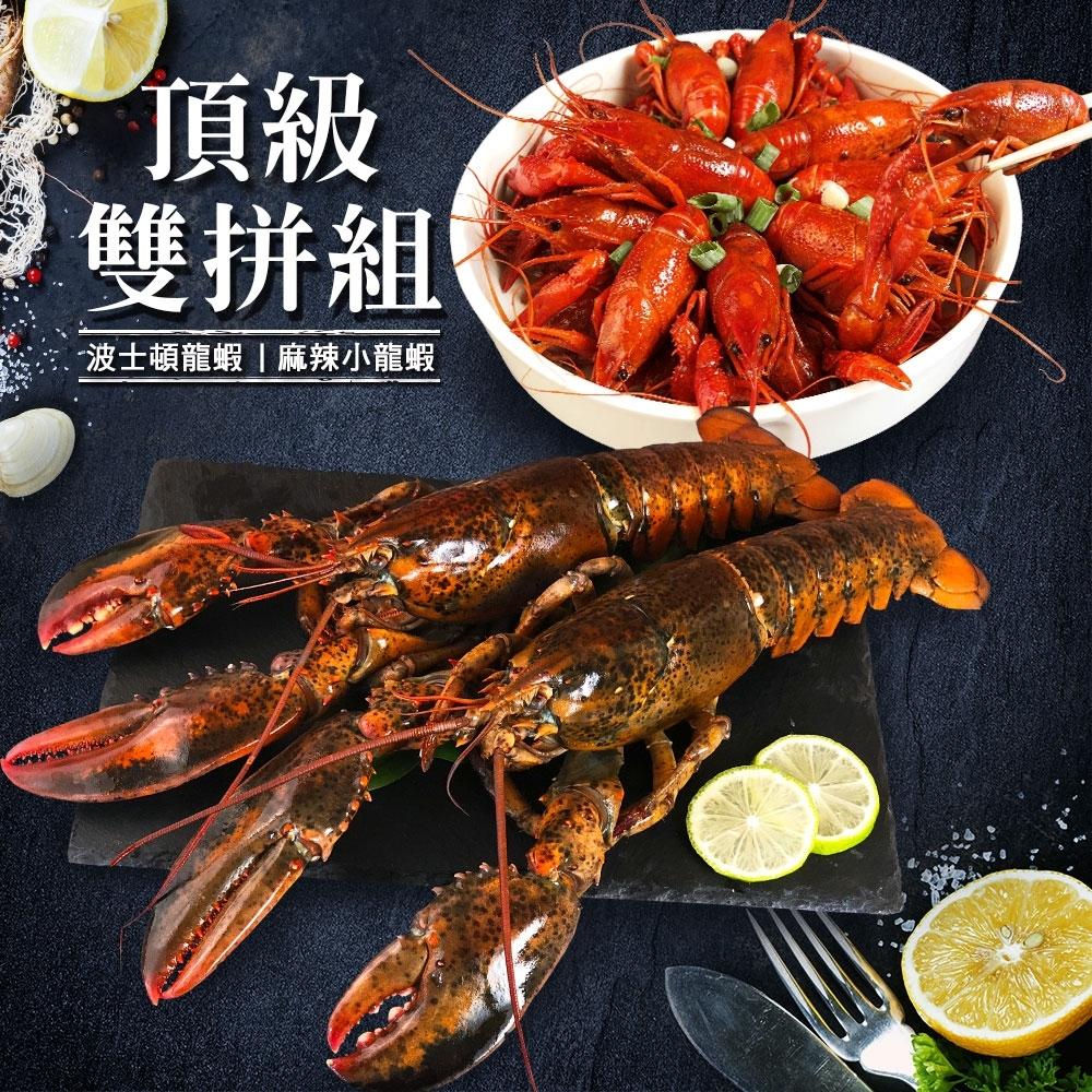 海鮮王 波士頓大龍蝦+麻辣小龍蝦頂級雙拼組(龍蝦500g+小龍蝦900g)