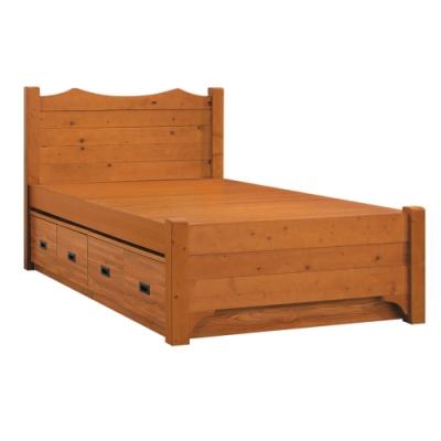 綠活居 吉里巴斯 現代3.5尺木紋單人收納床台(床片+四抽掀式底)-111x202x95.4cm免組