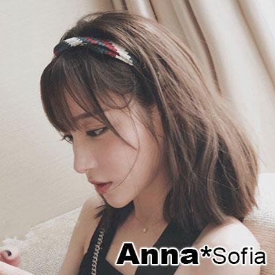 【滿額再7折】AnnaSofia 立體小磚格圖騰交叉結 彈性寬髮帶(深綠紅系)