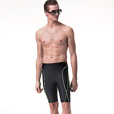 沙兒斯 泳裝 雙曲線紋飾七分男泳褲(黑色)