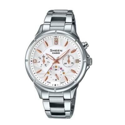 CASIO卡西歐 簡約三針三眼施華洛世奇女腕錶(SHE-3047D-7A)-銀x35mm