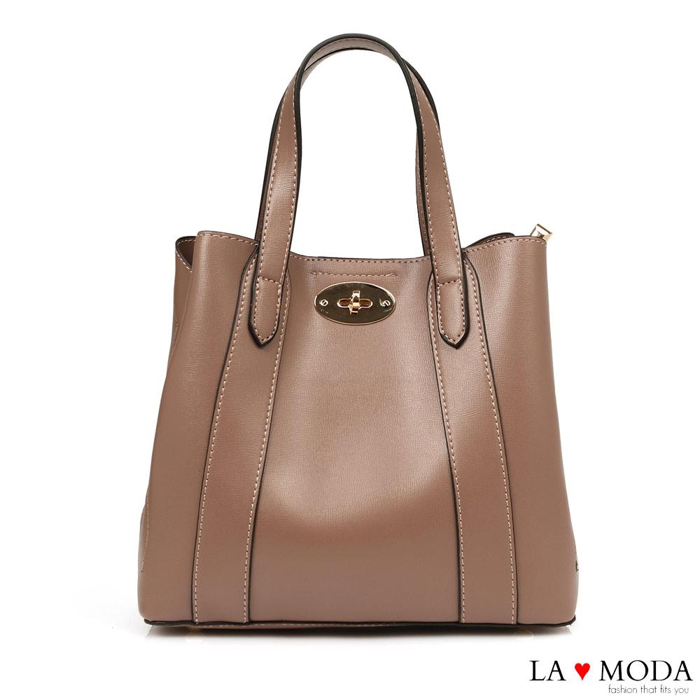 La Moda 精緻工藝大容量旋鈕釦飾設計肩背手提托特包(深杏)