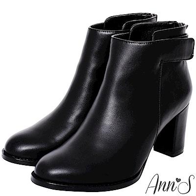 Ann'S比例平衡點-激瘦魔鬼氈粗跟素面高跟短靴-黑