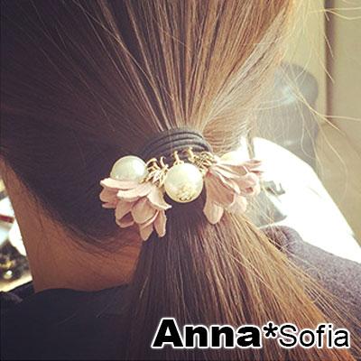 AnnaSofia 雙線柔珠垂雙花 純手工彈性髮束髮圈髮繩(藕粉系)