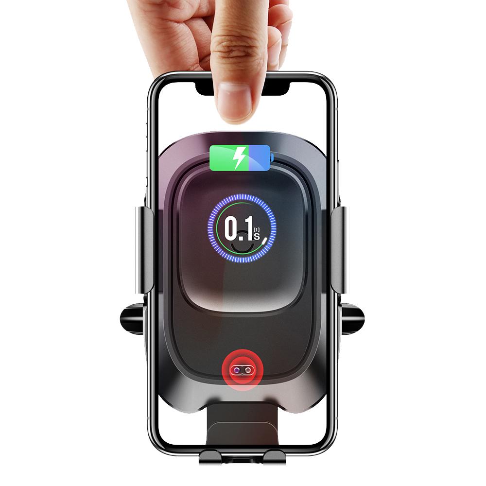 Baseus倍思 紅外線自動感應啟閉式車載支架+無線快速充電二合一 10W快充 -出風口款