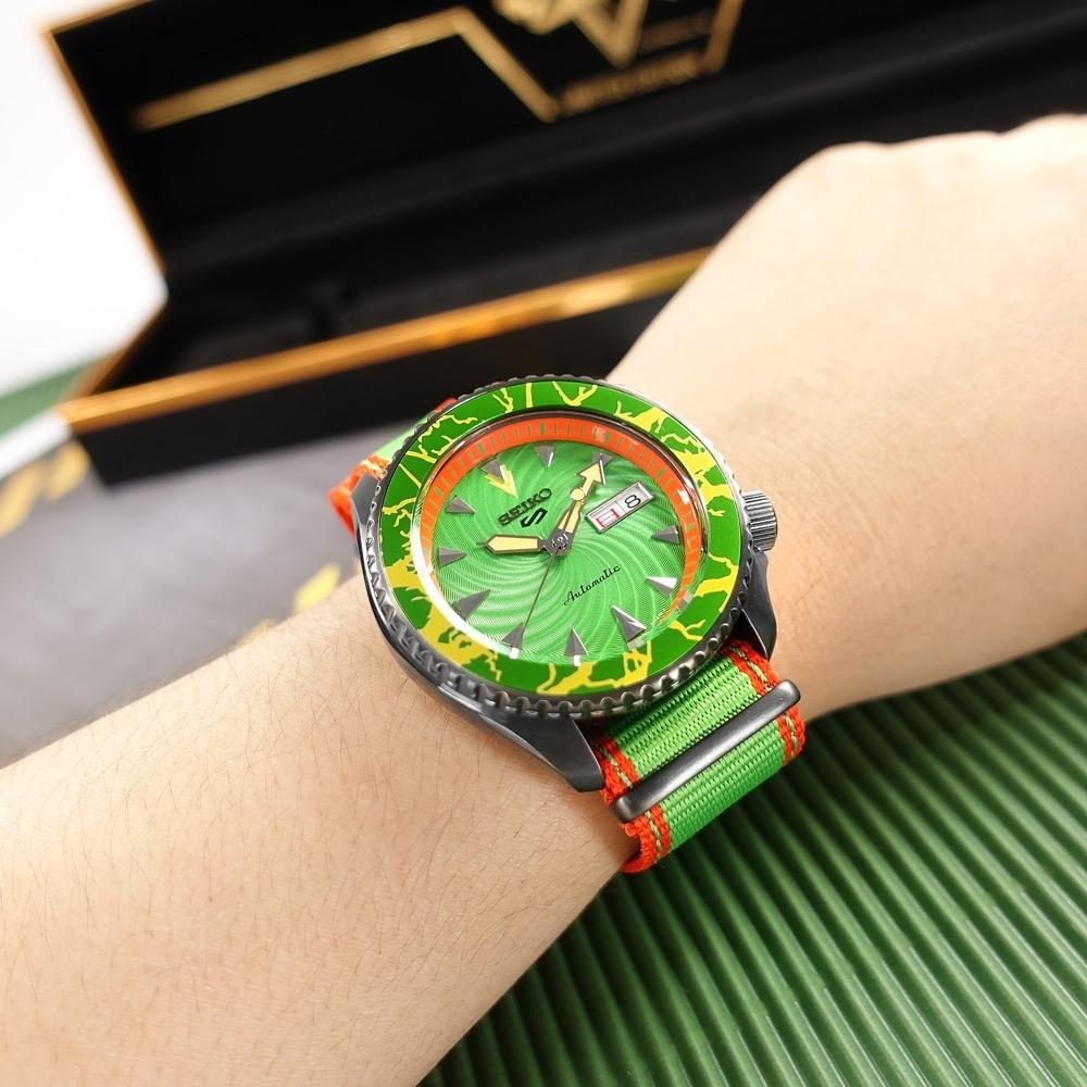 SEIKO 精工 限量款 5 Sports 機械錶 快打旋風 布蘭卡 尼龍帆布手錶-橘綠色/41mm