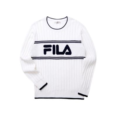 FILA 男長袖線衫-白色 1SWT-5454-WT