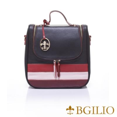 義大利BGilio-NAPPA軟牛皮學院風撞色後背包-黑色x紅色-1942.005-05