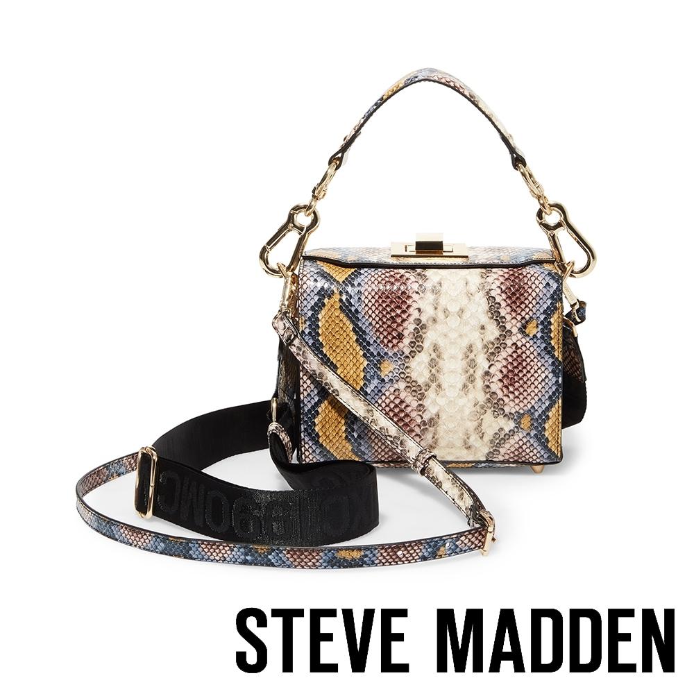 STEVE MADDEN-BKWEEN-奢華時代蛇紋錶帶手提斜背兩用包-蛇紋色
