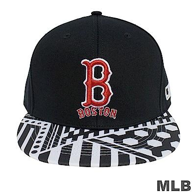 MLB-帽簷紅襪印花可調式棒球帽